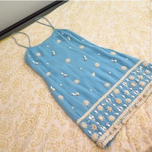 FRENCH CONNECTION beaded blue flapper style dress